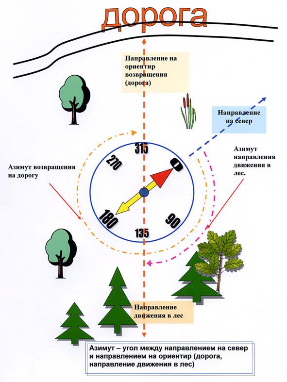 как пользоваться компасом в лесу без карты инструкция